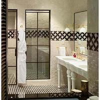 The Greenwich Hotel - bathrooms - white, porcelain, washstands, brass, faucets, brass, fixtures, brass, sconces, white, black, tiles, stone, backsplash, shower surround,