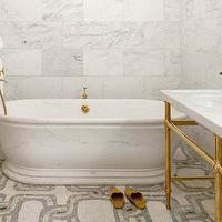 The Greenwich Hotel - bathrooms - marble, mosaic, tiles, floor, freestanding, tub, marble, washstand, brass, base, brass, fixtures,  Gorgeous