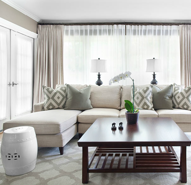 Mark Williams Design - living rooms - Sherwin Williams - Tony Taupe - David Hicks La Fiorentina, Mitchell Gold + Bob Williams Charlotte Sofa, Room & Board Shinto Cocktail Table, Quatrefoil Mist Rug, ivory, sofa, chaise lounge, white, garden stool, cherry, square, cocktail table, gray, pillows, oatmeal, linen, drapes, gray, walls, blue, lamps, orchid, mitchell gold, mitchell gold sofa,
