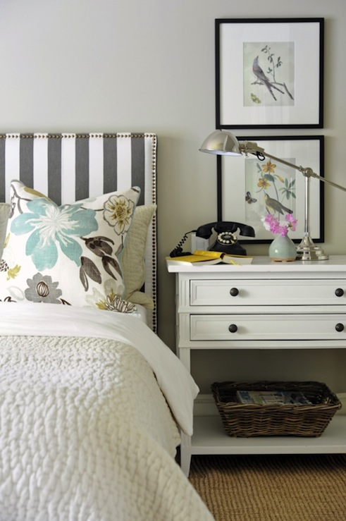 Kerrisdale Design - bedrooms - Ralph Lauren - Barn Owl White - Dwell Studio Oversize Stripe - Charcoal, Pottery Barn Wood Gallery Frame, Robert Abbey Alvin Polished Nickel Boom Desk Lamp, Pottery Barn Pick-Stitch Quilt, PB Grand Phone, Kravet Jellybean, tan, walls, jute, rug,