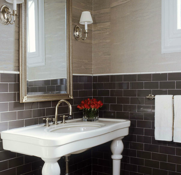 Brown subway tile bathroom