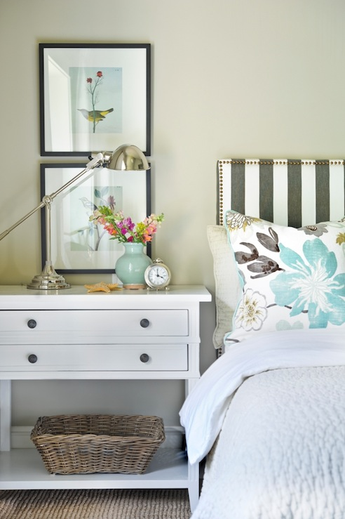 White and Gray Headboard, Transitional, bedroom, Ralph Lauren Barn Owl White, Kerrisdale Design