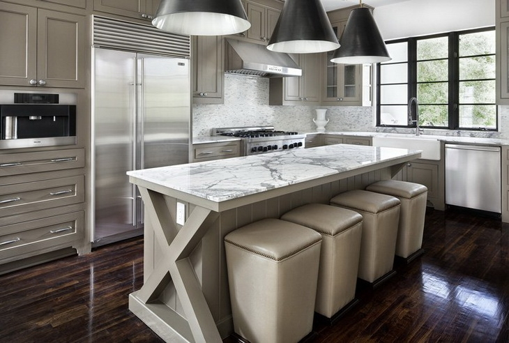 Simple Everyday Glamour - kitchens - Goodman Hanging Lamp, gray kitchen cabinets, gray kitchens, gray cabinets, x base kitchen island, x base island, gray island, gray kitchen island, white marble countertop, ottoman bar stools, ottoman counter stools, goodman hanging lamp,
