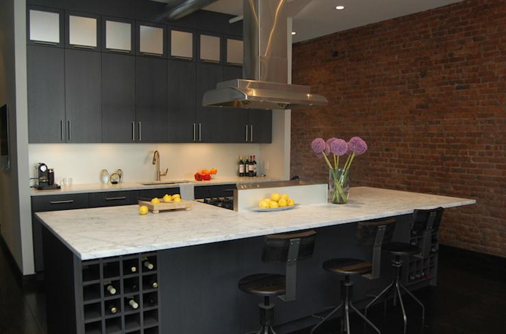 Kitchen island wine rack contemporary kitchen j for Wine rack in kitchen ideas