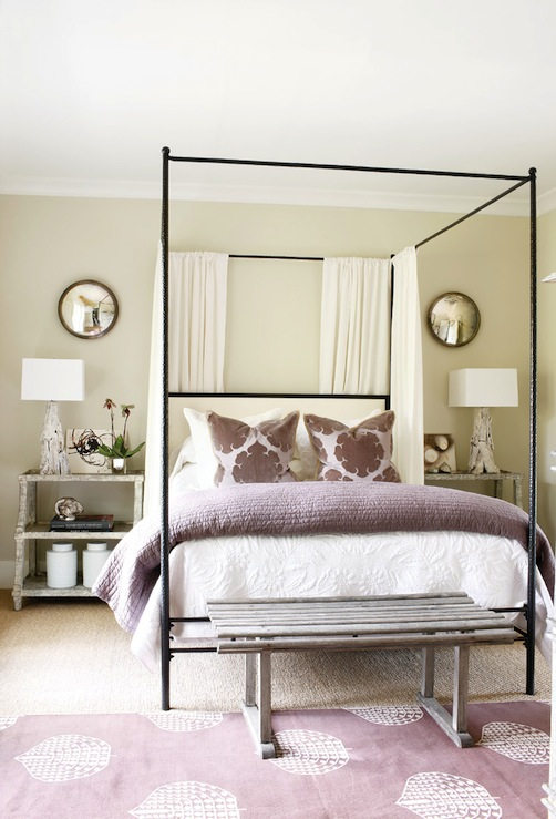 Gilded mint accent with amethyst for Purple and taupe bedroom