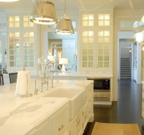 kitchens - Sloane Street Shop Light, glass-front, white, kitchen cabinets, white, kitchen island, marble, countertops, farmhouse sink, polished nickel, faucet, transom, windows, sisal, runner,