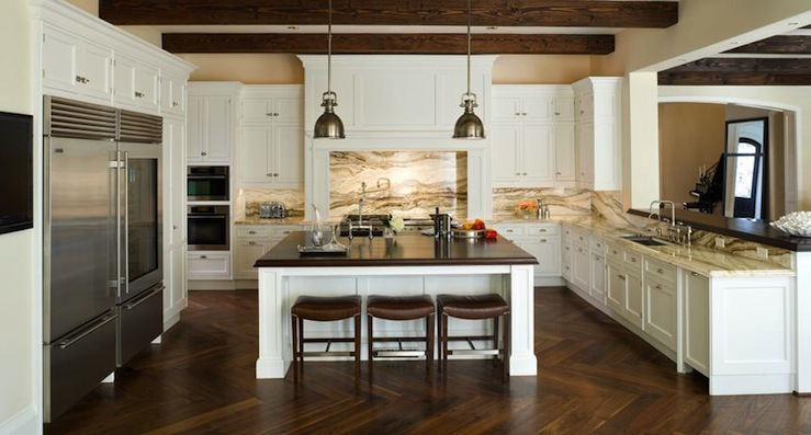 SoJo Design - kitchens - Yoke Pendant with Small Shade, herringbone wood floor, herringbone hardwood floors, herringbone kitchen floor, yoke pendants, leather bar stools, two tone countertops, white cabinets, white kitchen cabinets, butcher block island top,