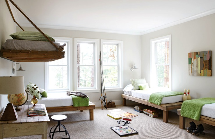 Atlanta Homes & Lifestyles - boy's rooms - gray, walls, rustic, wood, platform, beds, green, blankets, rustic, desk, industrial, stool,  Fun,