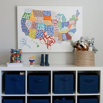 Caitlin Creer Interiors - boy's rooms - ikea expedit, expedit bookcase, ikea expedit bookcase, white ikea bookcase, white ikea expedit bookcase, Ikea Expedit, Pottery Barn US Map,