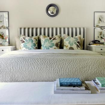 Fantastic sunny bedroom with Robert Allen dwell Studio Gate Fabric upholstered ...