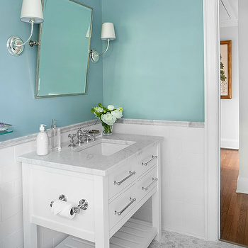 Mark Williams Design - bathrooms - Sherwin Williams - Dutch Tile Blue - restoration hardware bathroom vanity, spa blue walls, spa blue paint, spa blue paint color, spa blue bathroom, spa like bathroom, spa style bathroom, spa bathroom, spa bathroom design,