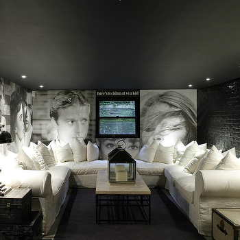 1st Option - media rooms: sectional, sectional sofa, white sectional, white sectional sofa, slipcovered sectional, slipcovered sectional sofa, white slipcovered sectional, white slipcovered sectional sofa, basement movie room, black brick wall, U shaped sectional,