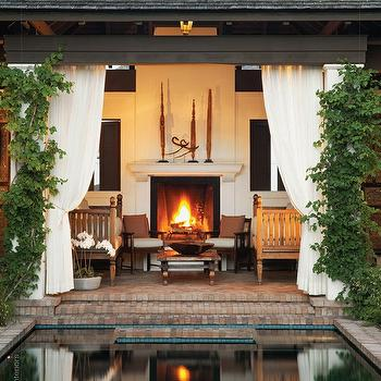 decks/patios - patio fireplace, pergola, outdoor fireplace, outdoor curtains,  via Tumblr  Amazing, amazing covered patio deck with brick steps,