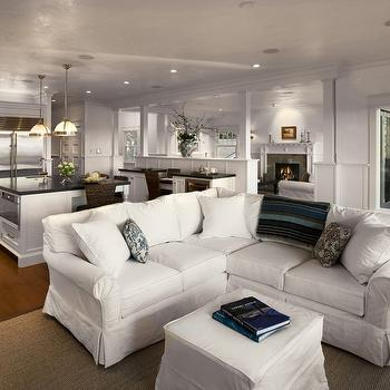 Slipcovered Sectional, Cottage, living room
