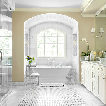 Beautiful master bathroom design with yellow walls paint color, marble basketweave ...