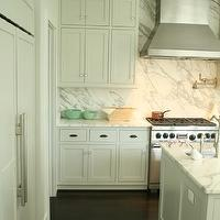 Rethink Design Studio - kitchens - white, flat panels, kitchen cabinets, kitchen island, marble, slab, backsplash, countertops, pot filler, celadon, bowls, accents, espresso, matte, wood floors, calcutta marble backsplash, calcutta marble slab backsplash, calcutta marble slab backsplash kitchen, marble kitchen backspalsh, Bronze Siena Flush Mount,