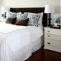 Kerrisdale Design - bedrooms - chocolate, brown, velvet, tufted, headboard, brown, velvet, lumbar, pillows, white, hotel duvet, shams, brown, stitching, navy blue, imperial trellis, pillows, ivory, nightstands, glossy, black, lamps, black, white, art, velvet headboard, tufted headboard, brown velvet headboard, brown tufted headboard, brown velvet tufted headboard, velvet tufted headboard,