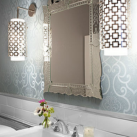 Mark Williams Design - bathrooms - parker pendants, venetian mirror, scroll wallpaper, blue scroll wallpaper,  Beautiful bathroom design with
