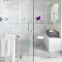 Mark Williams Design - bathrooms - marble walk in shower, walk in shower, marble shower surround, white marble shower surround, shower bench, marble shower bench, towel warmer,
