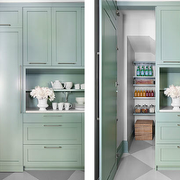 Mark Williams Design - kitchens - green cabinets, green kitchen cabinets, hidden pantry, hidden doors, hidden pantry doors, checkered floor,