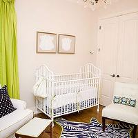 A La Mode Maven - nurseries - green, silk, drapes, ivory, walls, white, vintage, crib, gold leaf, frames, baby clothes, art, jonathan Adler, navy blue, zebra, cowhide, ruf, green, trim, white, slipper, chair, green trim, vintage, stool, white, tufted, slipped, chair,