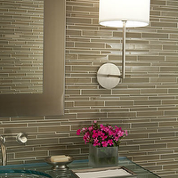 Mark Williams Design - bathrooms - taupe glass tiles, taupe glass tile backsplash, taupe glass bathroom backsplash, taupe glass backsplash, glass top vanity, glass top bathroom vanity, glass vanity, glass bathroom vanity,