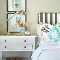 Kerrisdale Design - bedrooms - tan, walls, celadon, vase, jute, rug, Dwell Studio Oversize Stripe - Charcoal, Pottery Barn Wood Gallery Frame, Robert Abbey Alvin Polished Nickel Boom Desk Lamp, Kravet Jellybean, Pottery Barn Pick-Stitch Quilt,