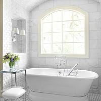 Mark Williams Design - bathrooms - alcove tub, alcove bathtub, bathtub in alcove, tub in alcove, bathroom alcove, freestanding tub, freestanding bathtub, marble tiled walls, bathroom etagere,