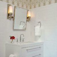 Mark Williams Design - bathrooms - loft light sconce, urban archaeology sconces, modern white washstand, Urban Archaeology Loft Light, Restoration Hardware Chatham Rectangular Pivot Mirror,