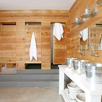 Atlanta Homes & Lifestyles - bathrooms - cabin boys bathroom, cabin style bathroom, cabin style boys bathroom, paneled bathroom, triplets bathroom, bathroom for triplets, bucket sinks, galvanized metal buckets, galvanized metal bucket sink bowls, wall mounted faucets,