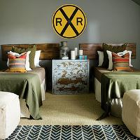Atlanta Homes & Lifestyles - boy's rooms - indigo rug, chevron rug, indigo chevron rug, plank headboard, shared kids room, shared kids bedroom, shared boys room, shared boys bedroom, shared nightstand, army green blankets,