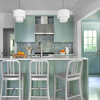 Mark Williams Design - kitchens - green cabinets, green kitchen cabinets, mosaic tiled backsplash, industrial counter stools,  Green kitchen