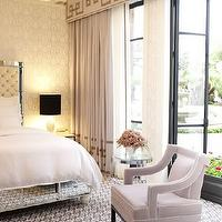 Jamie Herzlinger - bedrooms - mirror bed, mirrored bed, greek key curtains, greek key drapes, greek key cornice, greek key valance,  Chic bedroom