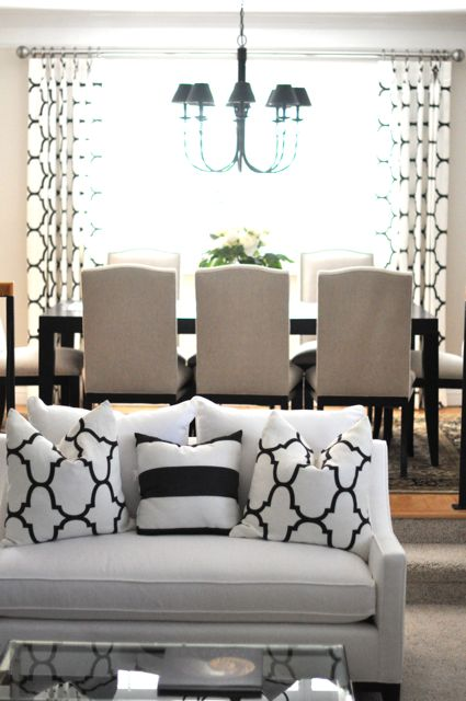 Caitlin Wilson Design - living rooms - Benjamin Moore - Edgecomb Gray - Windsor Smith Riad Jet, Crate & Barrel Colette chair, colette side chair, camelback chairs, camelback dining chairs, black and white pillows, moorish tiles pillows,