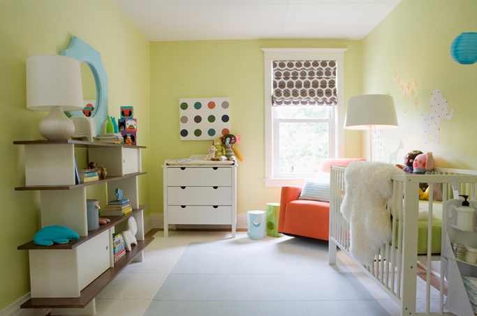 Samantha Pynn - nurseries - Benjamin Moore - Celadon Green - nursery bookcase, white changing table, coral pink glider, coral pink nursery glider,