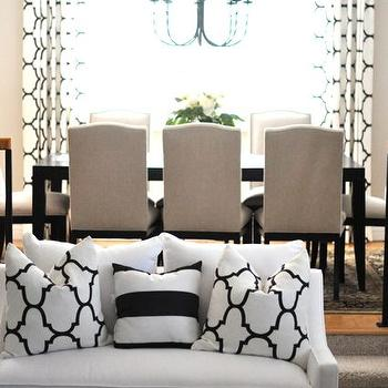 Caitlin Wilson Design - living rooms - Crate & Barrel Colette chair, colette side chair, camelback chairs, camelback dining chairs, black and white pillows, moorish tiles pillows, Windsor Smith Riad Jet,
