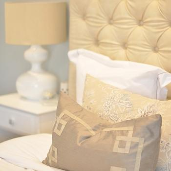 Caitlin Wilson Design - bedrooms - tufted headboard, leather headboard, cream tufted headboard, cream leather tufted headboard, greek key pillow, gray greek key pillow, Metallic Greige Signature Pillow,