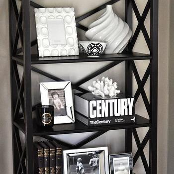Caitlin Wilson Design - living rooms - edgecomb gray, black bookcase, Ballard Designs Bourdonnais Bookcase,  Gorgeous bookshelf vignette with