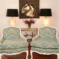 Turquoise LA - living rooms - turquoise, blue, green, ivory, fabric, upholstered, French, chairs, console, table, vintage, lamps, black, shades, flokati, rug, bronze, horse, art, plaque, hollywood regency decor, hollywood regency design, hollywood regency interior design,