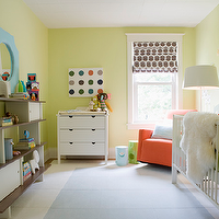 Samantha Pynn - nurseries - Benjamin Moore - Celadon Green - green, walls, blue, mirror, modern, bookshelf, white, crib, orange, glider, white, changing table, brown, geometric, roman shade,