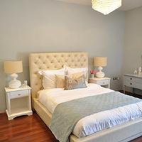 Caitlin Wilson Design - bedrooms - blue, gray, walls, ivory, leather, tufted, headboard, bed, silk, gray, Greek key, pillow, blue, Pottery Barn, throw, white, lamps, white, nightstands, crystal chandelier, blue, painted, dresser, painted, benjamin  Moore, kentucky Haze, gray walls, gray paint, gray paint colors, blue grey paint, blue grey paint color, blue grey walls, blue gray paint, blue gray walls, blue gray paint colors, blue gray bedroom, blue grey bedroom, blue grey bedroom walls, blue grey bedroom paint, blue gray bedroom walls, blue gray bedroom paint, Metallic Greige Signature Pillow,
