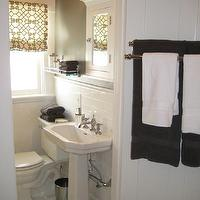 Caitlin Wilson Design - bathrooms - roman shade, gray, walls, hex, marble, floor, tiles, white, medicine, cabinet, mirror, white, pedestal, sink, gray walls, gray paint, gray paint colors, gray walls, grey walls, gray paint, grey paint, gray paint color, grey paint color, gray wall paint, grey wall paint, gray bathroom walls, grey bathroom walls, gray bathroom paint, grey bathroom paint, gray bathroom  paint color, grey bathroom paint color, Windsor Smith Pelagos,