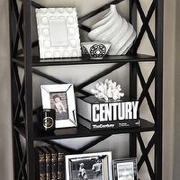 Caitlin Wilson Design - living rooms - gray, walls, white, black, accents, edgecomb gray, Ballard Designs Bourdonnais Bookcase,  Gorgeous bookshelf