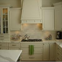 kitchens - Carrera marble, white cabinets, backsplash, carrera marble, carrera marble countertop,  Kitchen with tile backsplash and Carrera marble