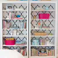 Turquoise LA - bedrooms - trellis wallpaper, white and black trellis wallpaper, moroccan wallpaper, white and black moroccan wallpaper, quatrefoil wallpaper, white and black quatrefoil wallpaper, moorish tiles wallpaper, white and black moorish tiles wallpaper, wallpaper on back of bookshelf, wallpaper on back of bookcase,