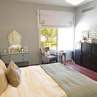 Caitlin Wilson Design - bedrooms - gray, blue, walls, venetian, mirror, blue, dresser, painted, benjamin Moore Kentucky Haze, ivory, leather, tufted, headboard, gray, Greek key, pillow, blue, Pottery Barn, throw, white, roman shade, taupe, Greek key, trim, espresso shoe cabinets, gray, velvet, chair, round, mirrored, accent table, white, lattice, quatrefoil, screen,