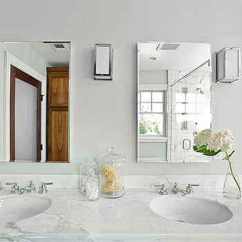His and Her Sinks, Contemporary, bathroom, Kriste Michelini Interiors