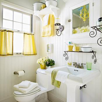 bathrooms - beadboard backsplash, beadboard bathroom, bathroom beadboard, white beadboard, white beadboard backsplash, yellow accents, yellow bathroom accents, bathroom with yellow accents, yellow room accents, yellow room accessories, yellow cafe ucrtains,