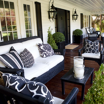 Kriste Michelini Interiors - porches - outdoor sitting area, outdoor seating area, outdoor sitting area, outdoor seating area, black wicker furniture, black wicker sofa, black wicker chairs,