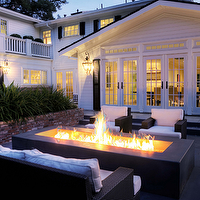Kriste Michelini Interiors - decks/patios - French doors, outdoor fireplace, black, modern, outdoor, furniture,  Fantastic outdoor living space